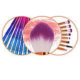 Набір якісних кісточок для макіяжу, 21 шт.  Фіолетово-голубі кисті для макіяжу в стилі Diamond.., фото 10