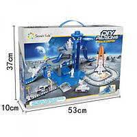 Гараж TZ-530  космос, 3 этажа, транспорт, фигурка, дорож. знаки, в кор-ке,53-37-10см
