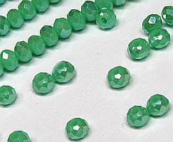 Бусины хрустальные (Рондель)  2х2мм пачка - 180-190 шт, цвет - зеленый непрозрачный с АБ