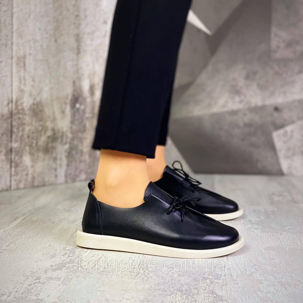 Женские черные туфли натуральная кожа на шнуровке