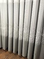 Тюль основа лён серого цвета, с ростительной вышивкой по низу в зал, гостиную, спальную. Турция. На метраж.