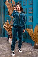 Женский спортивный велюровый костюм штаны и кофта с капюшоном изумруд 42-44 46-48 50-52 54-56