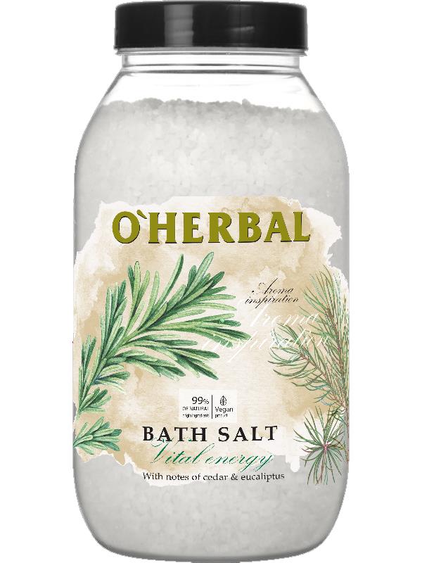 Соль для ванн Aroma Inspiration Vital energy с маслами кедра и эвкалипта  O'Herbal1100 г