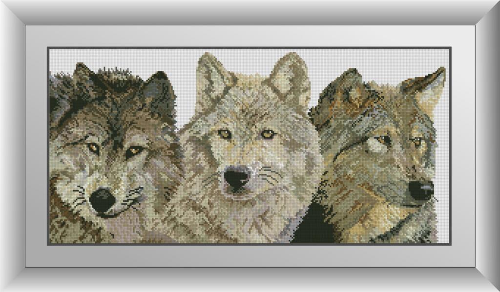 Алмазная мозаика Три волка Dream Art 30462 33x68см 35 цветов, квадр.стразы, полная зашивка. Набор алмазной