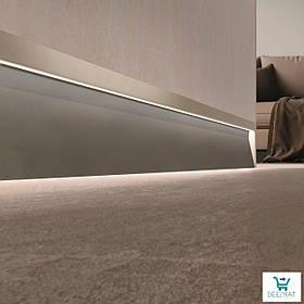 Светящийся плинтус алюминиевый для пола 63х10х2800 мм. Встроенный LED-плинтус в стену Profilpas SKL/2 concrete графитовый
