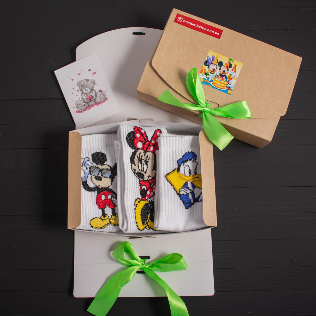 """Подарунковий набір шкарпетки 3 шт """"Міккі Маус"""", """"Мінні Маус"""", """"Дональд Дак"""" Rock'n ' socks"""