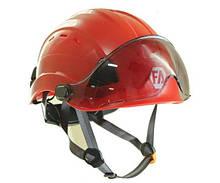 Каска для промальпа с защитным щитком First Ascent Vysotik Visor, цвет красный (FA 1107) прозрачный