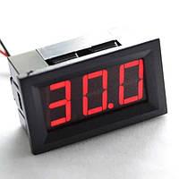 Вольтметр цифровой DC 0-30V с LED-индикатором 0.56 дюйма, красный (три провода), корпус черный