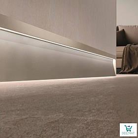 Светящийся плинтус алюминиевый для пола 63х10х2800 мм. Встроенный LED-плинтус в стену Profilpas SKL/2 concrete дымчатый