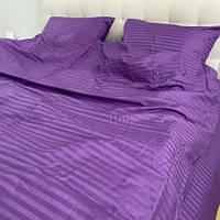 Полуторний комплект постільної білизни з фіолетового страйп-сатину, фото 1