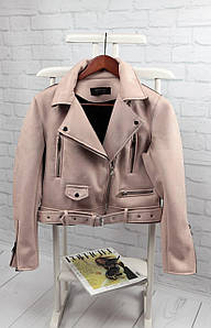 Стильная куртка из экокожи бежевого цвета с ремнем 42-46 р