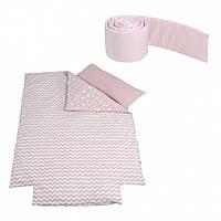 Набір Micuna ÉTNICO покривало+борт+наволочка 120*60, рожевий