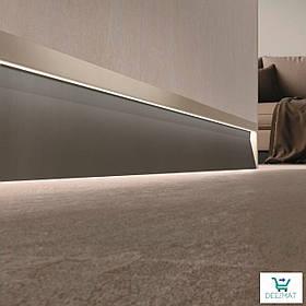 Светящийся плинтус алюминиевый для пола 63х10х2800 мм. Встроенный LED-плинтус в стену Profilpas SKL/2 metal ligh