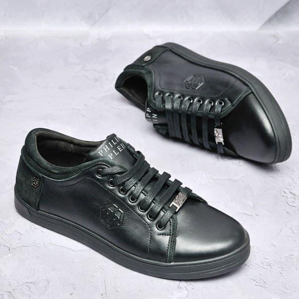 Кожаные мужские кроссовки Philipp Plein топ качество