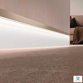 Светящийся плинтус алюминиевый для пола 63х10х2800 мм. Встроенный LED-плинтус в стену Profilpas SKL/2 solid white