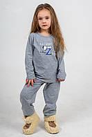 Пижама детская с брюками с и принтом серая