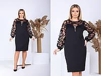 Р 48-64 Ошатне плаття з об'ємними, прозорими рукавами Батал 23574