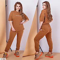 Стильный прогулочный женский костюм летний с футболкой большого размера 48-60 арт. 610