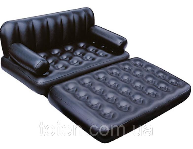 Надувний диван-трансформер Матрац 75056 зі спинкою, 188-152-64см, насос 220V, в сумці