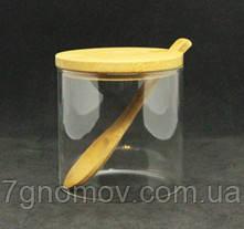 Цукорниця скляна з бамбуковою кришкою 250 мл арт. 16504-2