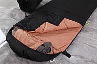 Туристический спальный мешок Черный (до -2). Спальник туристический для похода весна и осень
