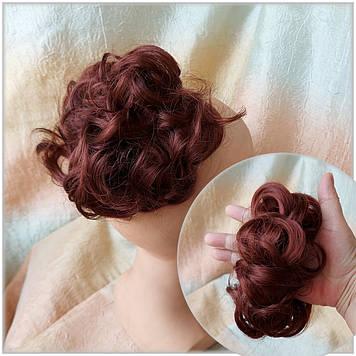 Резинка шиньон из волос темно-медный 0215V-131