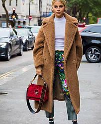 Пальто женское из искусственного меха Mild, коричневый Berni Fashion (S)
