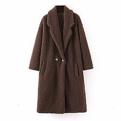 Пальто женское из искусственного меха Bushy, коричневый Berni Fashion (S)
