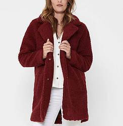Пальто женское двубортное из искусственного меха Furry, бордовый Berni Fashion (S)