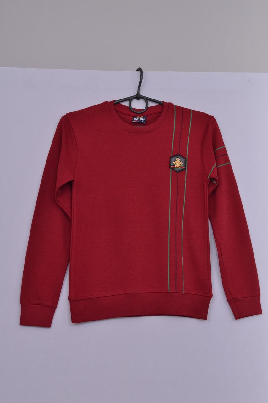 Л-180 Джемпер для мальчика, бомбер, кофта, свитер, реглан Бордовый, 134