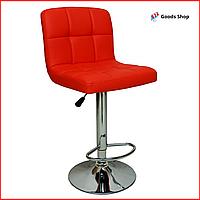 Барный стул высокий для барной стойки Кожаное барное кресло стильное со спинкой для кухни Bonro B-628 красный