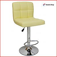 Барный стул высокий для барной стойки Кожаное барное кресло стильное со спинкой для кухни Bonro B-628 бежевый