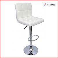 Барный стул высокий для барной стойки Кожаное барное кресло стильное со спинкой для кухни Bonro B-628 белый