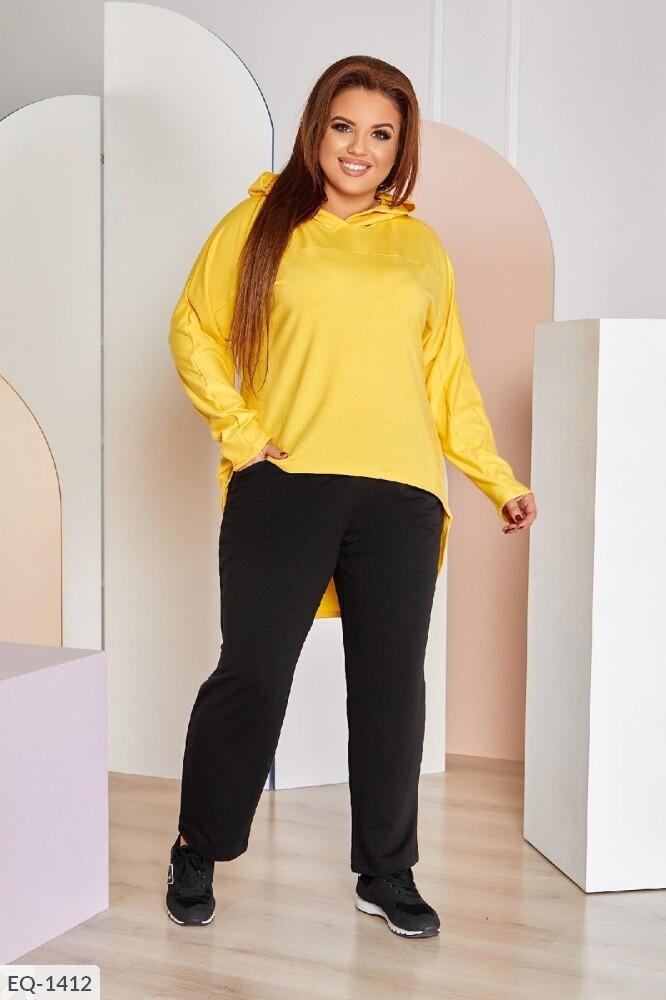 Весеснний женский прогулочный костюм с удлиненным худи сзади большие размеры 48-62 арт. 0126