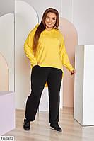 Весеснний женский прогулочный костюм с удлиненным худи сзади большие размеры 48-62 арт. 0126, фото 1