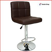 Барный стул высокий для барной стойки Кожаное барное кресло стильное со спинкой для кухни Bonro 628 коричневый