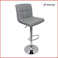 Барный стул высокий для барной стойки Кожаное барное кресло стильное со спинкой для кухни Bonro B-628 серый