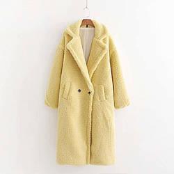 Пальто женское из искусственного меха Style, желтый Berni Fashion (S)