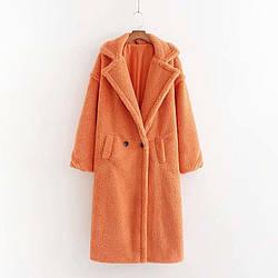 Пальто женское из искусственного меха Style, оранжевый Berni Fashion (S)