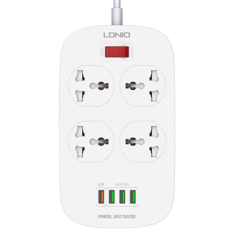 Сетевой удлинитель фильтр Ldnio SC4407, быстрая зарядка, 4 Розетки + 4 USB, 2 м, сечение 3х0,75мм