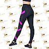Женские спортивные черные лосины с ярко-розовыми вставками, фото 3