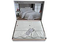Комплект постельного белья Maison D'or Les Coeurs Ecru-Lilac сатин 220-200 см кремовый