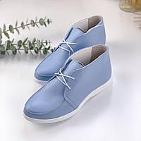 Женские туфли,лоферы на шнурках,натуральная кожа голубые