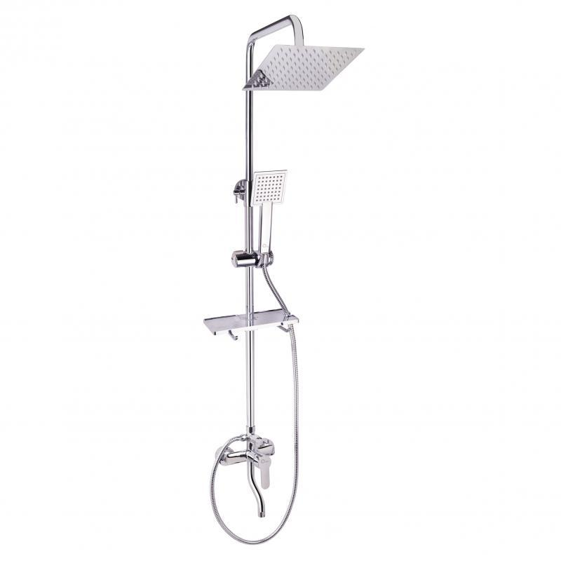 Душевая система с тропическим душем и смесителем цвет хром Q-tap CRM 1005