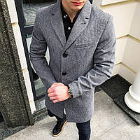 Английское классическое мужское деловое стильное однобортное молодежное пальто из кашемира осень весна серое