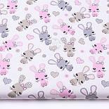 """Лоскут ткани """"Зайчики и сердечка"""" бежевые и розовые на белом (№3328), размер 18*160 см, фото 2"""