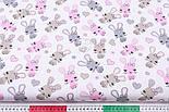 """Лоскут ткани """"Зайчики и сердечка"""" бежевые и розовые на белом (№3328), размер 18*160 см, фото 3"""