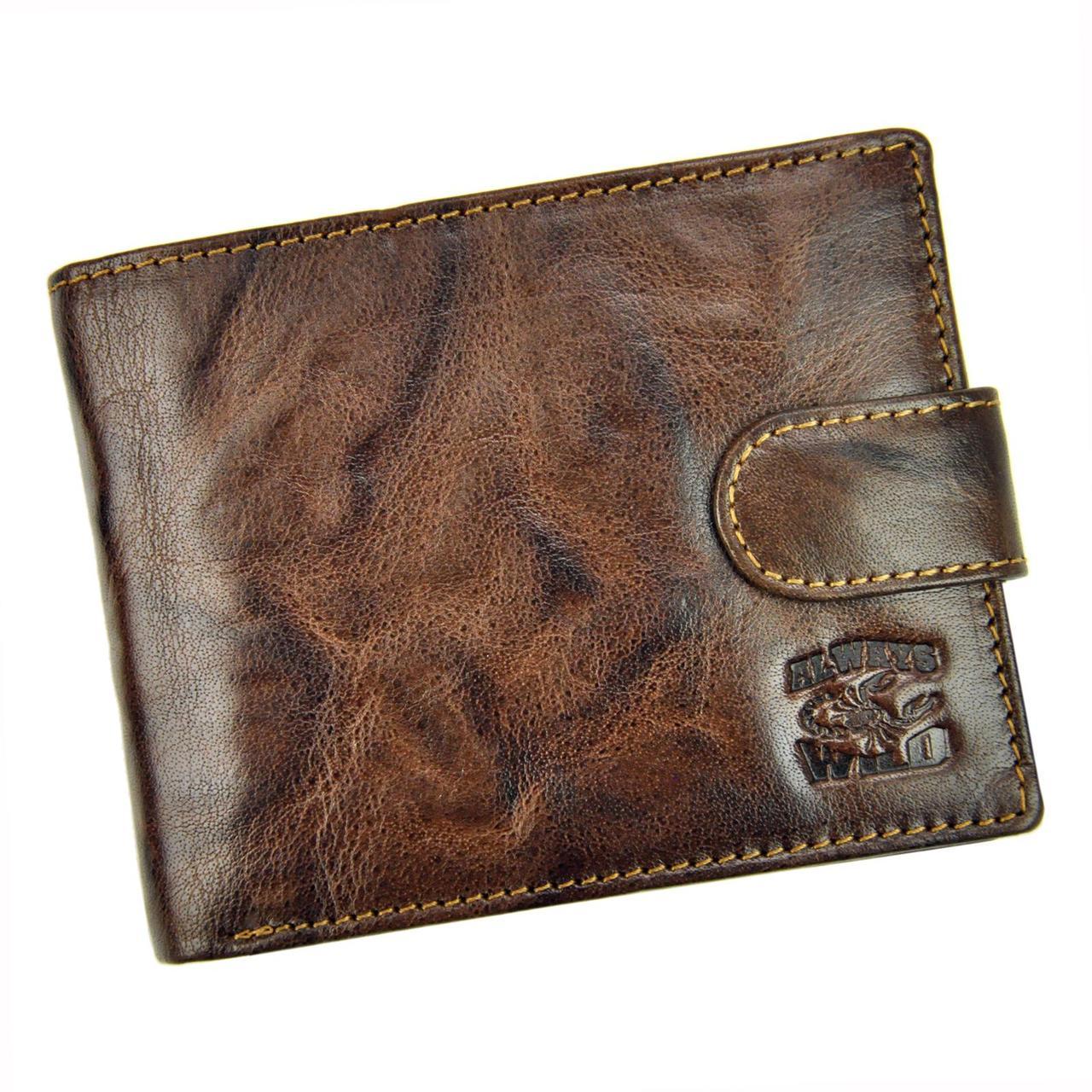 Чоловічий шкіряний гаманець Wild N992L-BC RFID Темно-коричневий