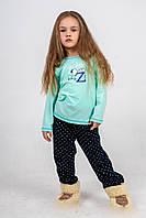 Пижама детская из мятной кофты и темно-синих штанов