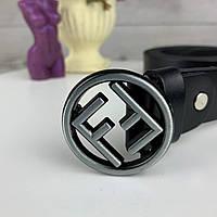 Ремень женский кожаный Fendi Стильный пояс Фэнди с матовой металлической пряжкой качественный ремень